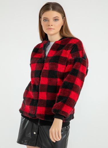 Foremia Dama Desen Peluş Bomber Ceket Kırmızı